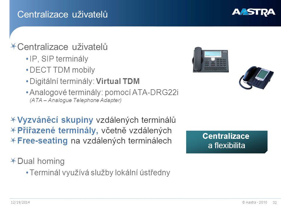 © Aastra - 2010 32 12/19/2014 Centralizace uživatelů IP, SIP terminály DECT TDM mobily Digitální terminály: Virtual TDM Analogové terminály: pomocí ATA-DRG22i (ATA – Analogue Telephone Adapter) Vyzváněcí skupiny vzdálených terminálů Přiřazené terminály, včetně vzdálených Free-seating na vzdálených terminálech Dual homing Terminál využívá služby lokální ústředny Centralizace a flexibilita