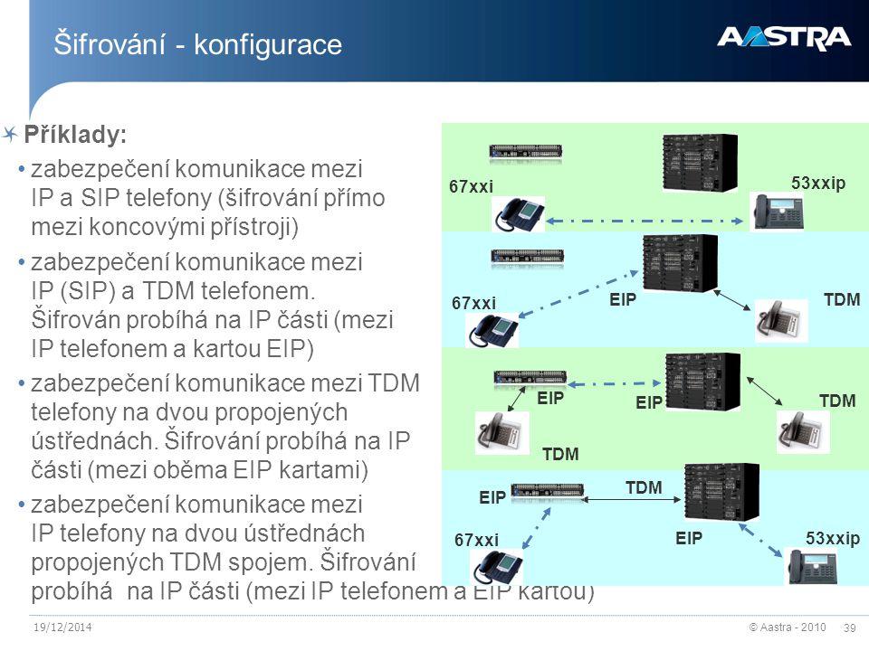 © Aastra - 2010 39 19/12/2014 Šifrování - konfigurace Příklady: zabezpečení komunikace mezi IP a SIP telefony (šifrování přímo mezi koncovými přístroji) zabezpečení komunikace mezi IP (SIP) a TDM telefonem.