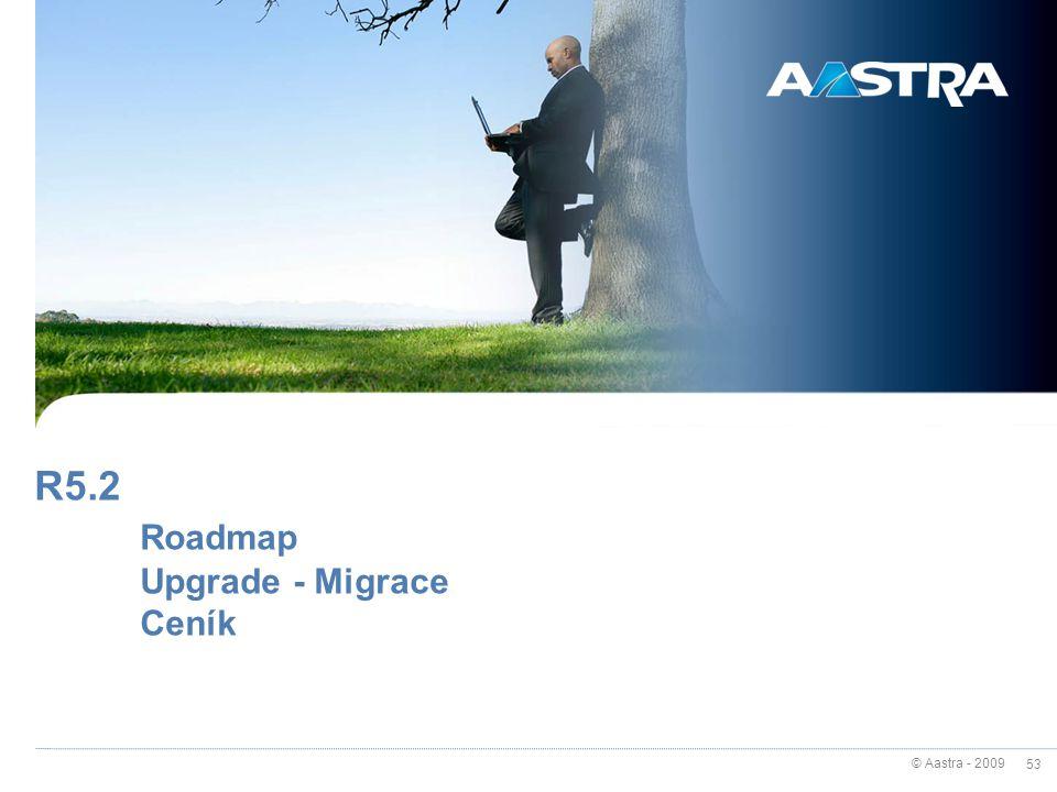© Aastra - 2009 53 R5.2 Roadmap Upgrade - Migrace Ceník