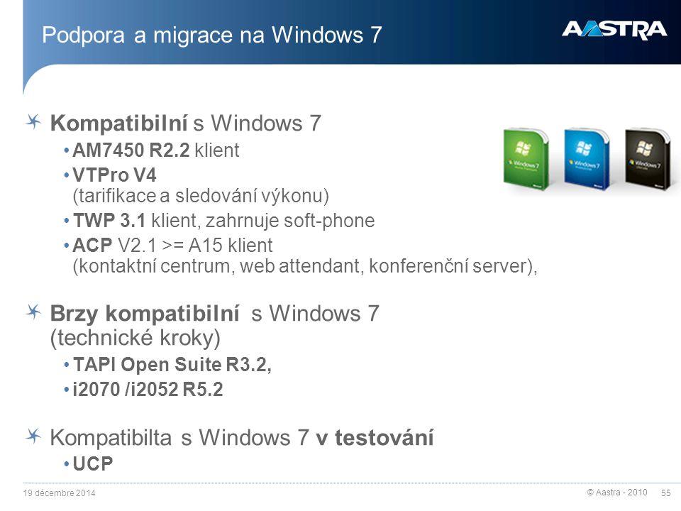 © Aastra - 2010 55 Podpora a migrace na Windows 7 Kompatibilní s Windows 7 AM7450 R2.2 klient VTPro V4 (tarifikace a sledování výkonu) TWP 3.1 klient,