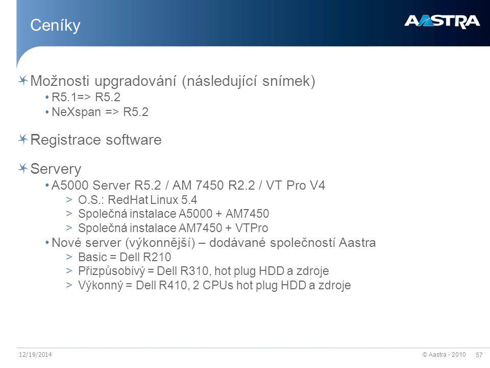 © Aastra - 2010 57 12/19/2014 Ceníky Možnosti upgradování (následující snímek) R5.1=> R5.2 NeXspan => R5.2 Registrace software Servery A5000 Server R5