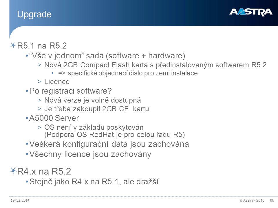 "© Aastra - 2010 58 19/12/2014 Upgrade R5.1 na R5.2 ""Vše v jednom"" sada (software + hardware) >Nová 2GB Compact Flash karta s předinstalovaným software"