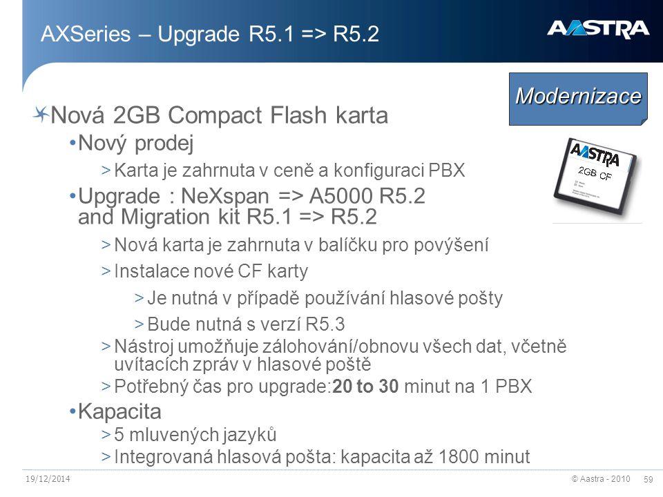 © Aastra - 2010 59 AXSeries – Upgrade R5.1 => R5.2 Nová 2GB Compact Flash karta Nový prodej >Karta je zahrnuta v ceně a konfiguraci PBX Upgrade : NeXspan => A5000 R5.2 and Migration kit R5.1 => R5.2 >Nová karta je zahrnuta v balíčku pro povýšení >Instalace nové CF karty >Je nutná v případě používání hlasové pošty >Bude nutná s verzí R5.3 >Nástroj umožňuje zálohování/obnovu všech dat, včetně uvítacích zpráv v hlasové poště >Potřebný čas pro upgrade:20 to 30 minut na 1 PBX Kapacita >5 mluvených jazyků >Integrovaná hlasová pošta: kapacita až 1800 minut Modernizace 19/12/2014