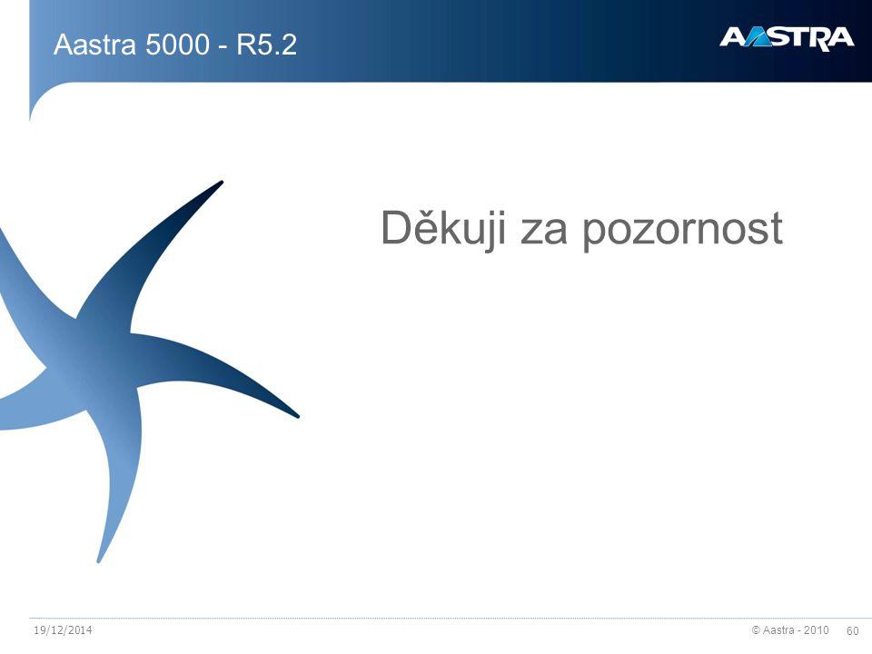 © Aastra - 2010 60 19/12/2014 Aastra 5000 - R5.2 Děkuji za pozornost