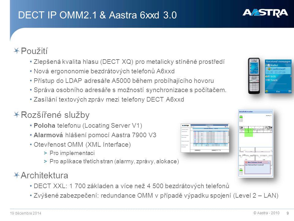 © Aastra - 2010 9 Použití Zlepšená kvalita hlasu (DECT XQ) pro metalicky stíněné prostředí Nová ergononomie bezdrátových telefonů A6xxd Přístup do LDA