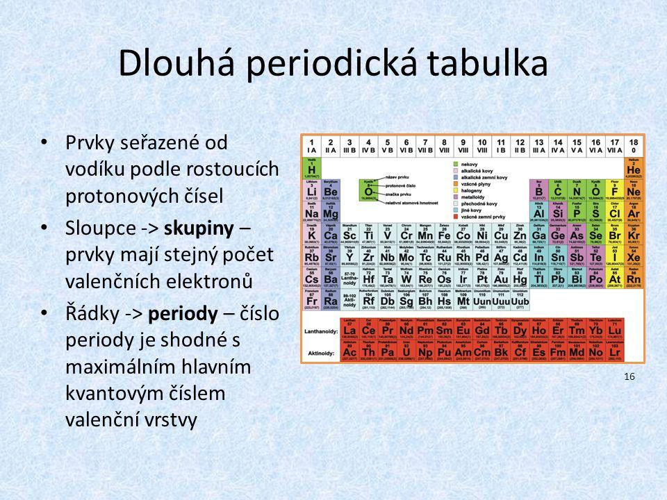 Dlouhá periodická tabulka Prvky seřazené od vodíku podle rostoucích protonových čísel Sloupce -> skupiny – prvky mají stejný počet valenčních elektron