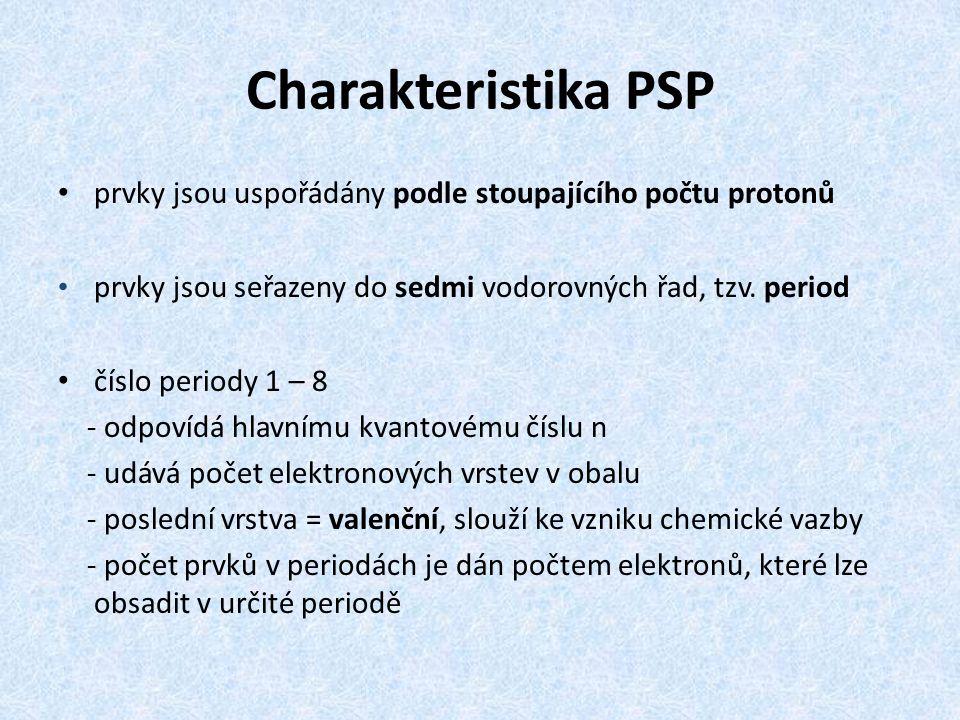 Charakteristika PSP prvky jsou uspořádány podle stoupajícího počtu protonů prvky jsou seřazeny do sedmi vodorovných řad, tzv. period číslo periody 1 –