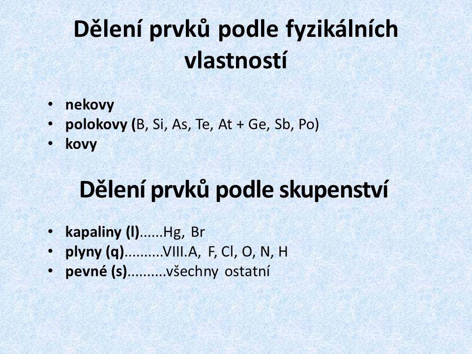 Dělení prvků podle fyzikálních vlastností nekovy polokovy (B, Si, As, Te, At + Ge, Sb, Po) kovy Dělení prvků podle skupenství kapaliny (l)......Hg, Br