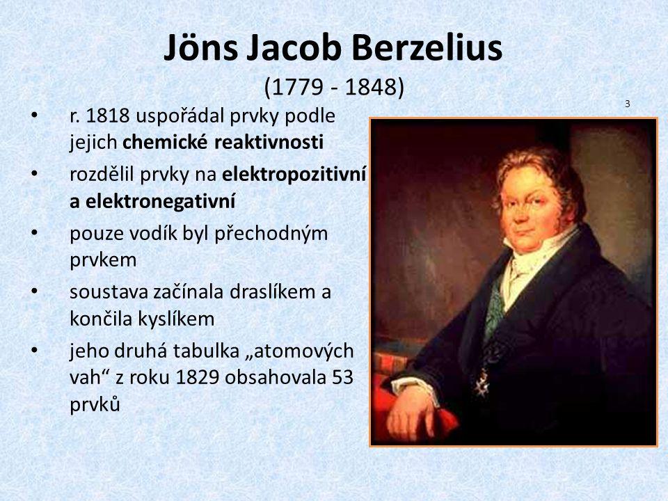 Jöns Jacob Berzelius (1779 - 1848) r. 1818 uspořádal prvky podle jejich chemické reaktivnosti rozdělil prvky na elektropozitivní a elektronegativní po