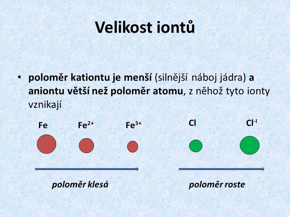 Velikost iontů poloměr kationtu je menší (silnější náboj jádra) a aniontu větší než poloměr atomu, z něhož tyto ionty vznikají Fe Fe 2+ Fe 3+ poloměr