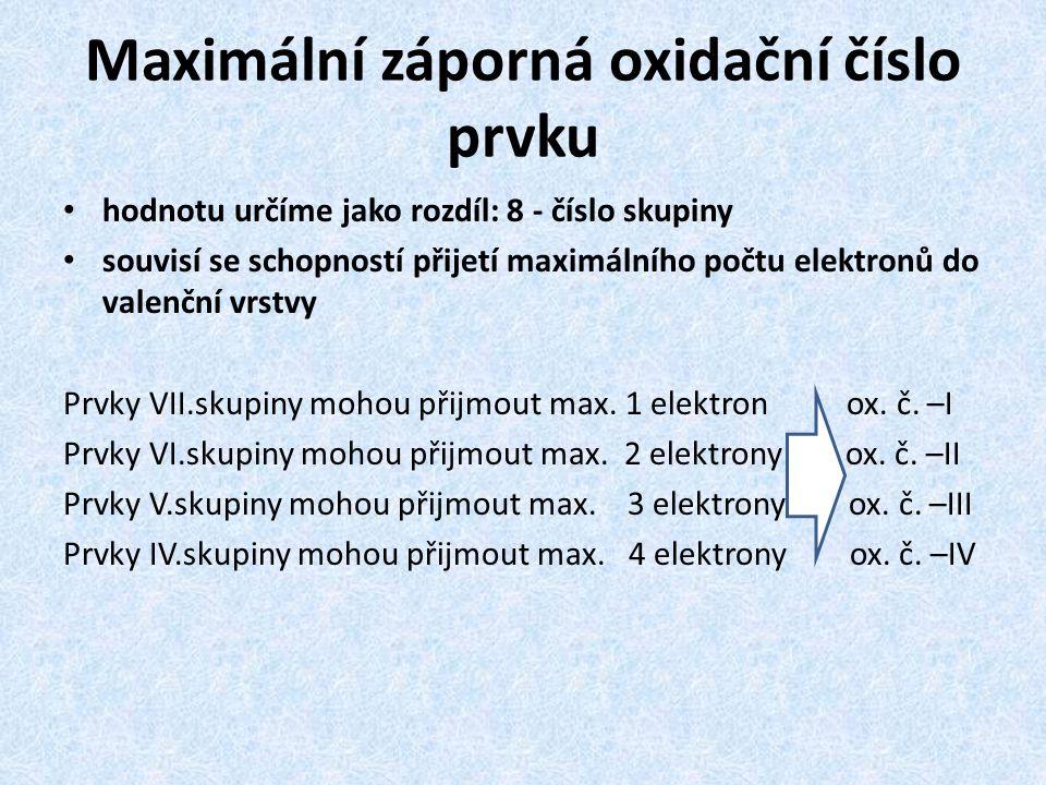 Maximální záporná oxidační číslo prvku hodnotu určíme jako rozdíl: 8 - číslo skupiny souvisí se schopností přijetí maximálního počtu elektronů do vale