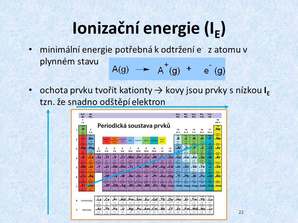 Ionizační energie (I E ) minimální energie potřebná k odtržení e - z atomu v plynném stavu ochota prvku tvořit kationty → kovy jsou prvky s nízkou I E