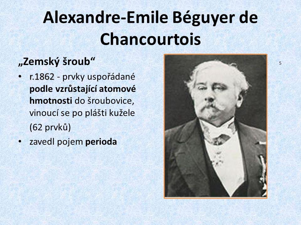 """Alexandre-Emile Béguyer de Chancourtois """"Zemský šroub"""" r.1862 r.1862 - prvky uspořádané podle vzrůstající atomové hmotnosti do šroubovice, vinoucí se"""