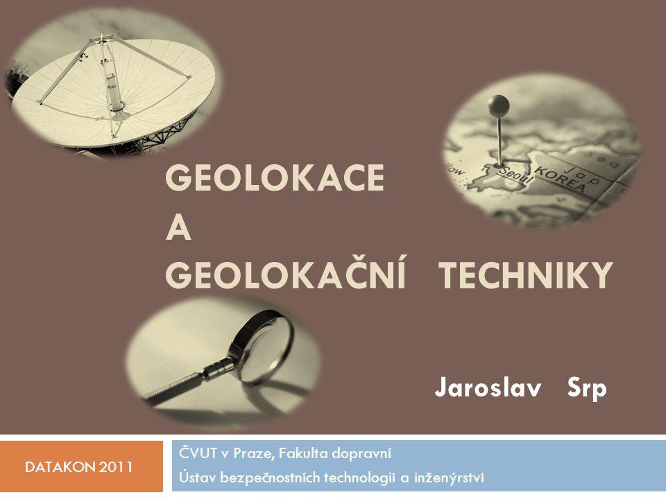 Geolokace podle topologie 16.10.2011 Jaroslav Srp, DATAKON 2011 72 Constraint Based Geolocation (CBG)  technika  RTT od všech sond převedeny na vzdálenost mezi sondami a uzlem  trilaterací určen průsečík odpovídající lokaci uzlu  možné výsledky trilaterace  kružnice se neprotnou (neúspěšná geolokace)  kružnice se protnou v 1 bodě  kružnice průnikem vymezují prostor
