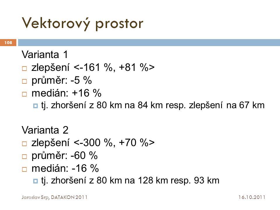 Vektorový prostor 16.10.2011 Jaroslav Srp, DATAKON 2011 108 Varianta 1  zlepšení  průměr: -5 %  medián: +16 %  tj. zhoršení z 80 km na 84 km resp.