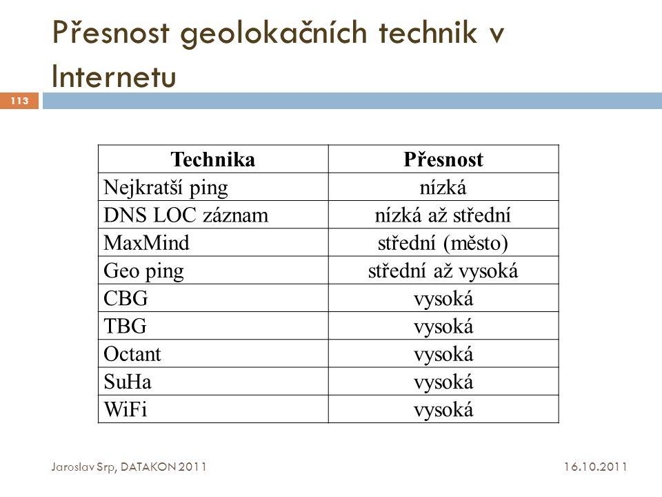 Přesnost geolokačních technik v Internetu 16.10.2011 Jaroslav Srp, DATAKON 2011 113 TechnikaPřesnost Nejkratší pingnízká DNS LOC záznamnízká až středn
