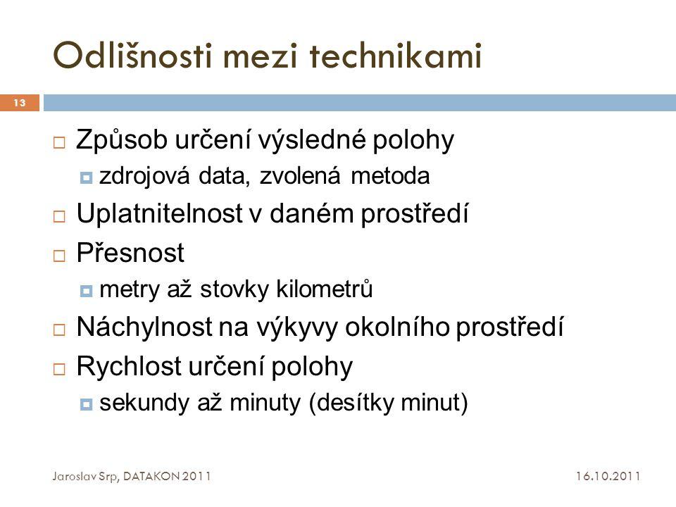 Odlišnosti mezi technikami 16.10.2011 Jaroslav Srp, DATAKON 2011 13  Způsob určení výsledné polohy  zdrojová data, zvolená metoda  Uplatnitelnost v