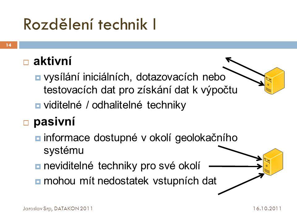Rozdělení technik I 16.10.2011 Jaroslav Srp, DATAKON 2011 14  aktivní  vysílání iniciálních, dotazovacích nebo testovacích dat pro získání dat k výp