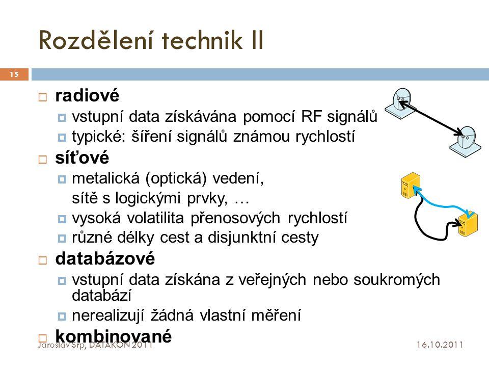 Rozdělení technik II 16.10.2011 Jaroslav Srp, DATAKON 2011 15  radiové  vstupní data získávána pomocí RF signálů  typické: šíření signálů známou ry