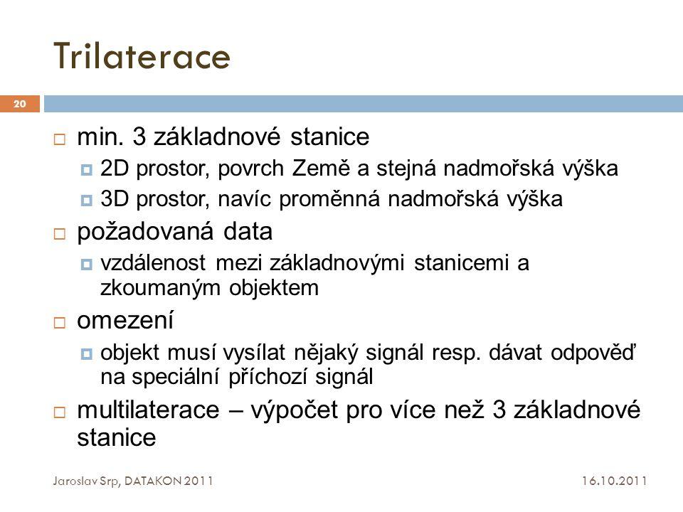 Trilaterace 16.10.2011 Jaroslav Srp, DATAKON 2011 20  min. 3 základnové stanice  2D prostor, povrch Země a stejná nadmořská výška  3D prostor, naví
