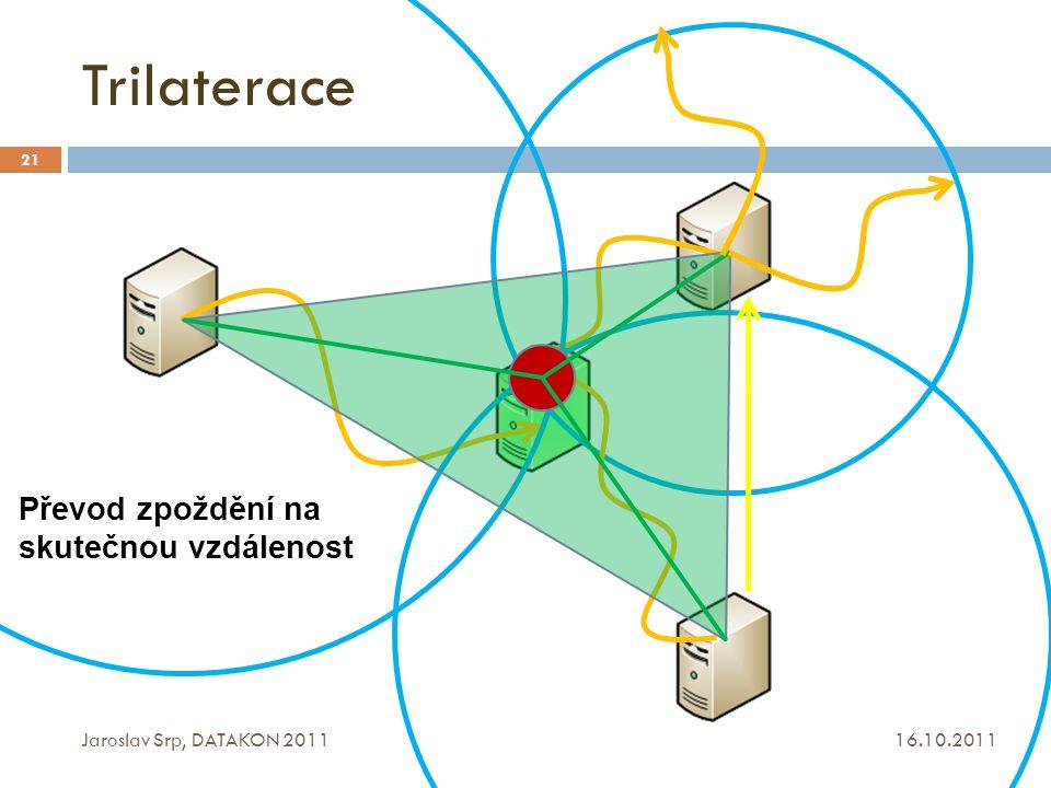 Trilaterace 16.10.2011 Jaroslav Srp, DATAKON 2011 21 Převod zpoždění na skutečnou vzdálenost