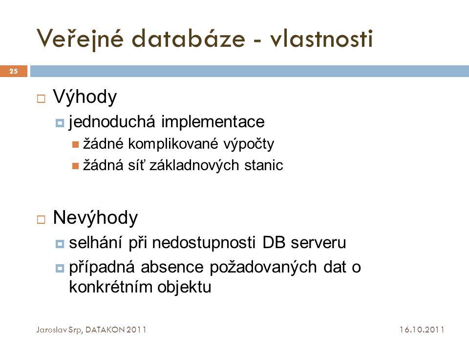 Veřejné databáze - vlastnosti 16.10.2011 Jaroslav Srp, DATAKON 2011 25  Výhody  jednoduchá implementace žádné komplikované výpočty žádná síť základn