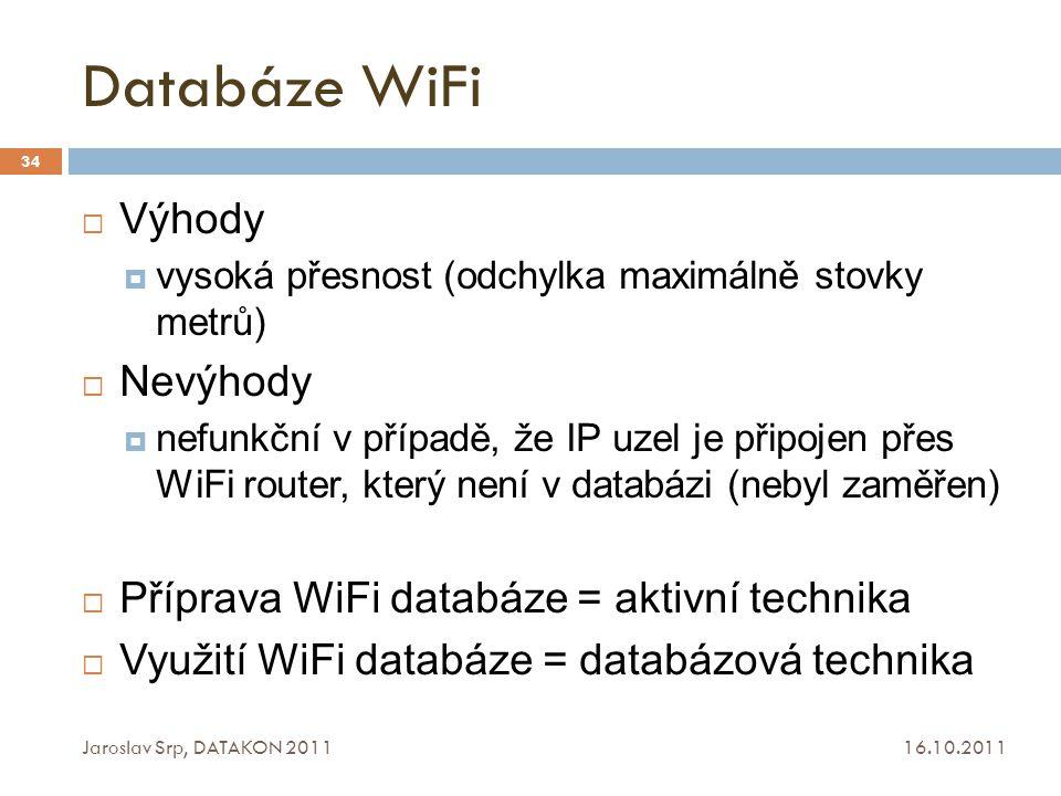 Databáze WiFi 16.10.2011 Jaroslav Srp, DATAKON 2011 34  Výhody  vysoká přesnost (odchylka maximálně stovky metrů)  Nevýhody  nefunkční v případě,