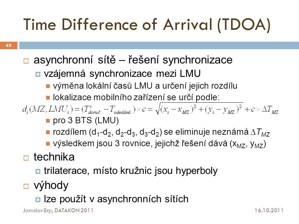 Time Difference of Arrival (TDOA) 16.10.2011 Jaroslav Srp, DATAKON 2011 43  asynchronní sítě – řešení synchronizace  vzájemná synchronizace mezi LMU