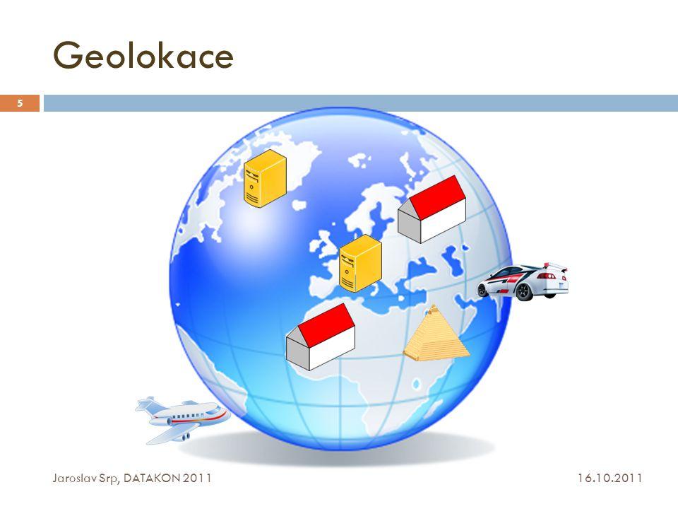 Algoritmus geolokace SuHa 16.10.2011 Jaroslav Srp, DATAKON 2011 86  původně vycházel z techniky Octant (CBG)  pro usnadnění implementace pouze maximální doby RTT (pouze maximální kružnice)   řešení s velkým rozptylem od odhadovaného místa polohy uzlu  úprava řešení  eliminace min.