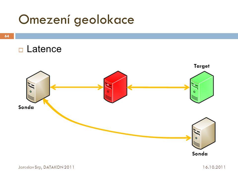 Omezení geolokace 16.10.2011 Jaroslav Srp, DATAKON 2011 64  Latence Sonda Target