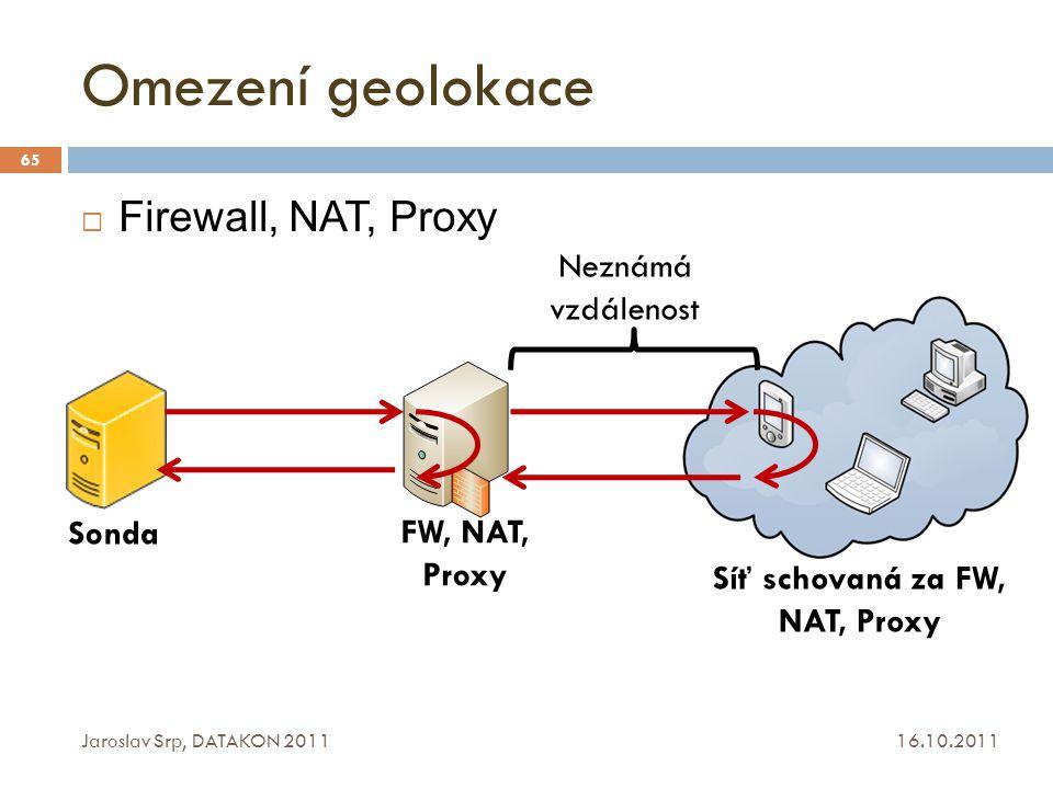Omezení geolokace 16.10.2011 Jaroslav Srp, DATAKON 2011 65  Firewall, NAT, Proxy Sonda FW, NAT, Proxy Síť schovaná za FW, NAT, Proxy Neznámá vzdáleno