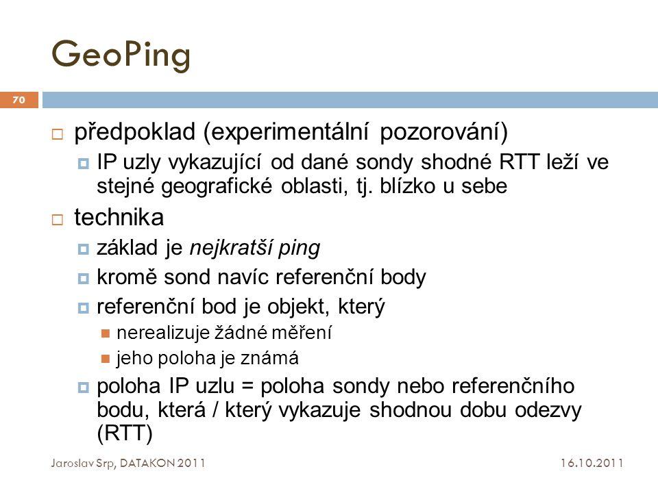 GeoPing 16.10.2011 Jaroslav Srp, DATAKON 2011 70  předpoklad (experimentální pozorování)  IP uzly vykazující od dané sondy shodné RTT leží ve stejné
