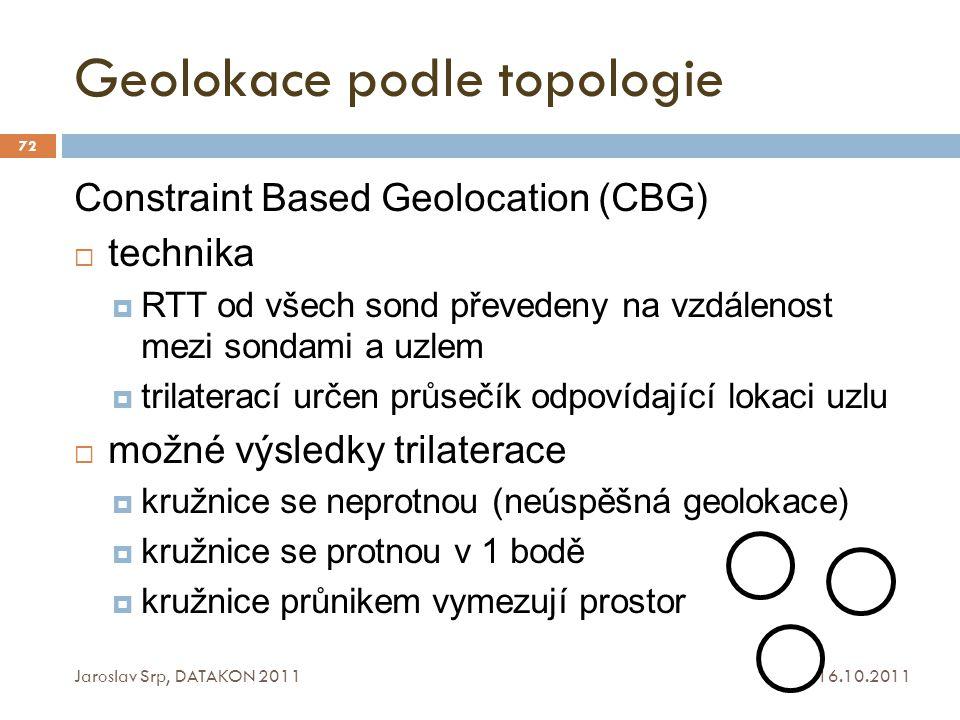 Geolokace podle topologie 16.10.2011 Jaroslav Srp, DATAKON 2011 72 Constraint Based Geolocation (CBG)  technika  RTT od všech sond převedeny na vzdá