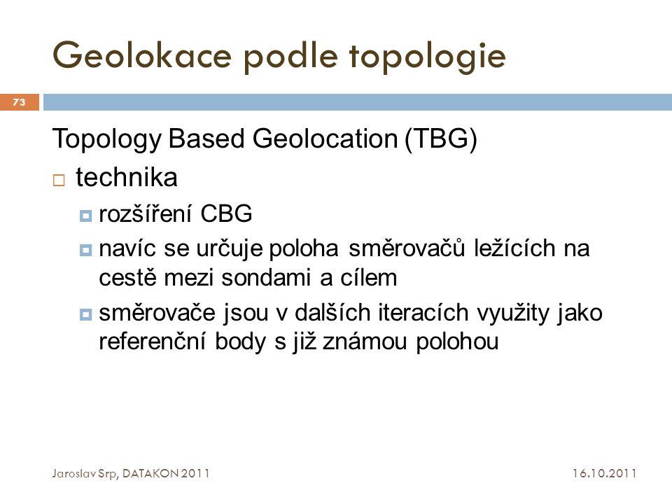 Geolokace podle topologie 16.10.2011 Jaroslav Srp, DATAKON 2011 73 Topology Based Geolocation (TBG)  technika  rozšíření CBG  navíc se určuje poloh