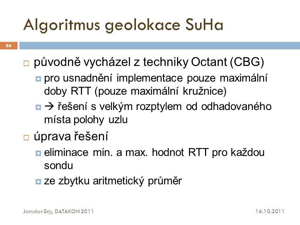 Algoritmus geolokace SuHa 16.10.2011 Jaroslav Srp, DATAKON 2011 86  původně vycházel z techniky Octant (CBG)  pro usnadnění implementace pouze maxim
