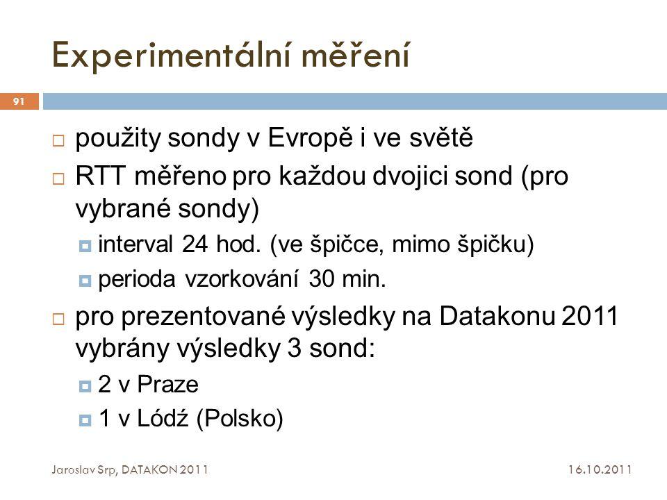 Experimentální měření 16.10.2011 Jaroslav Srp, DATAKON 2011 91  použity sondy v Evropě i ve světě  RTT měřeno pro každou dvojici sond (pro vybrané s