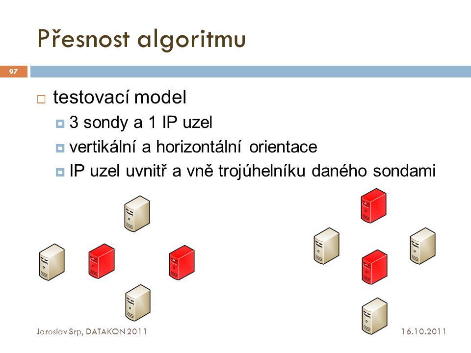 Přesnost algoritmu 16.10.2011 Jaroslav Srp, DATAKON 2011 97  testovací model  3 sondy a 1 IP uzel  vertikální a horizontální orientace  IP uzel uv