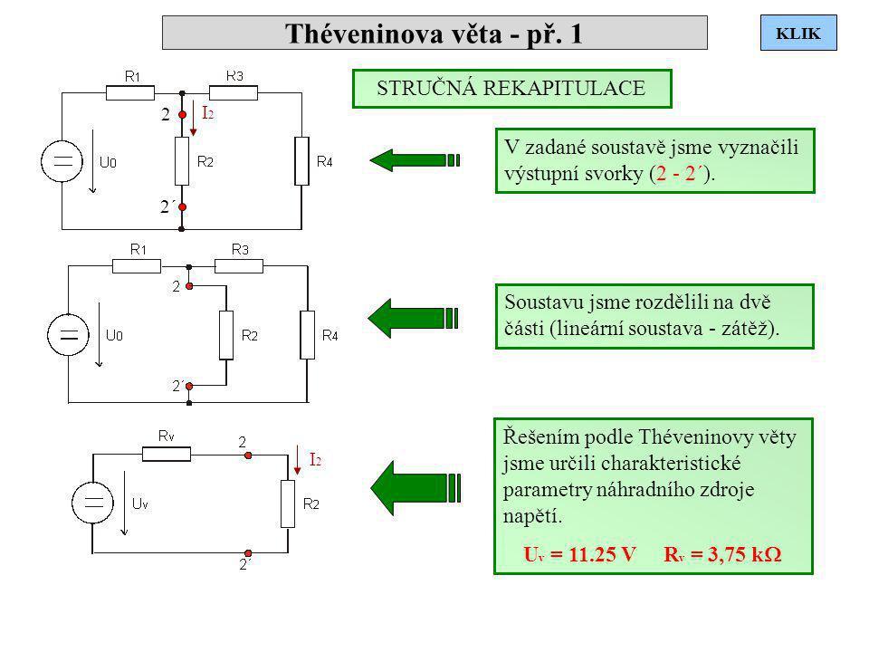 Théveninova věta - př. 1 I2I2 2 2´ I2I2 V zadané soustavě jsme vyznačili výstupní svorky (2 - 2´). Soustavu jsme rozdělili na dvě části (lineární sous