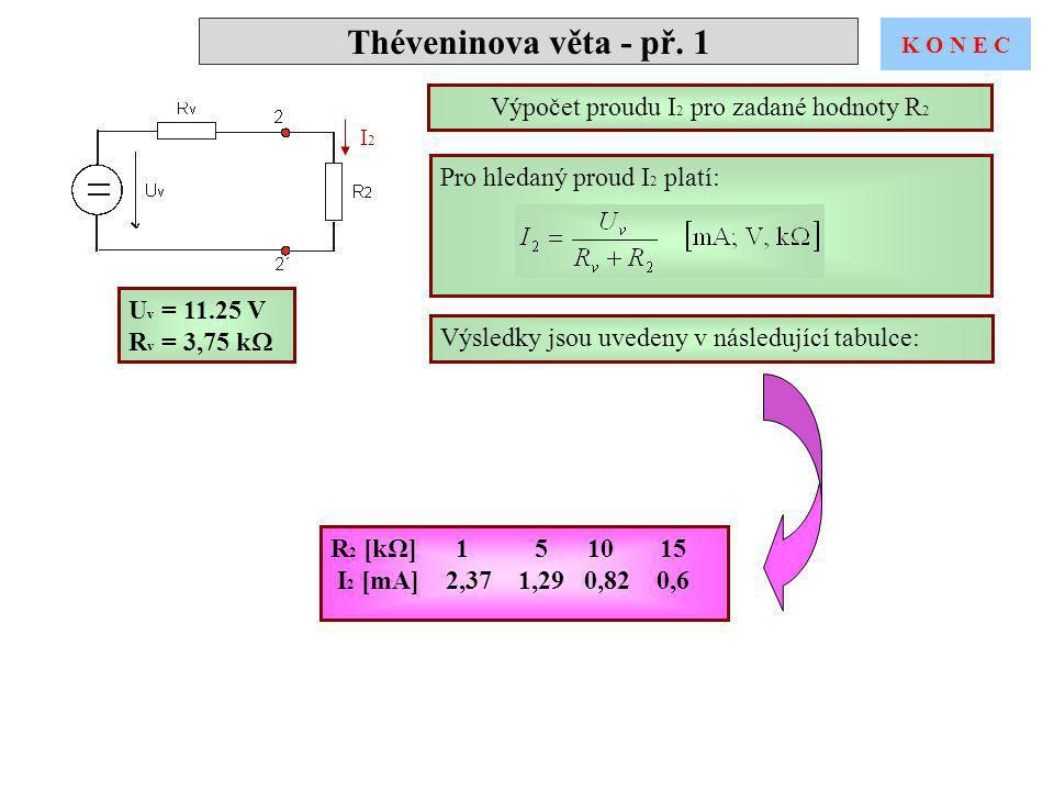 Théveninova věta - př. 1 I2I2 Pro hledaný proud I 2 platí: Výsledky jsou uvedeny v následující tabulce: U v = 11.25 V R v = 3,75 k  Výpočet proudu I