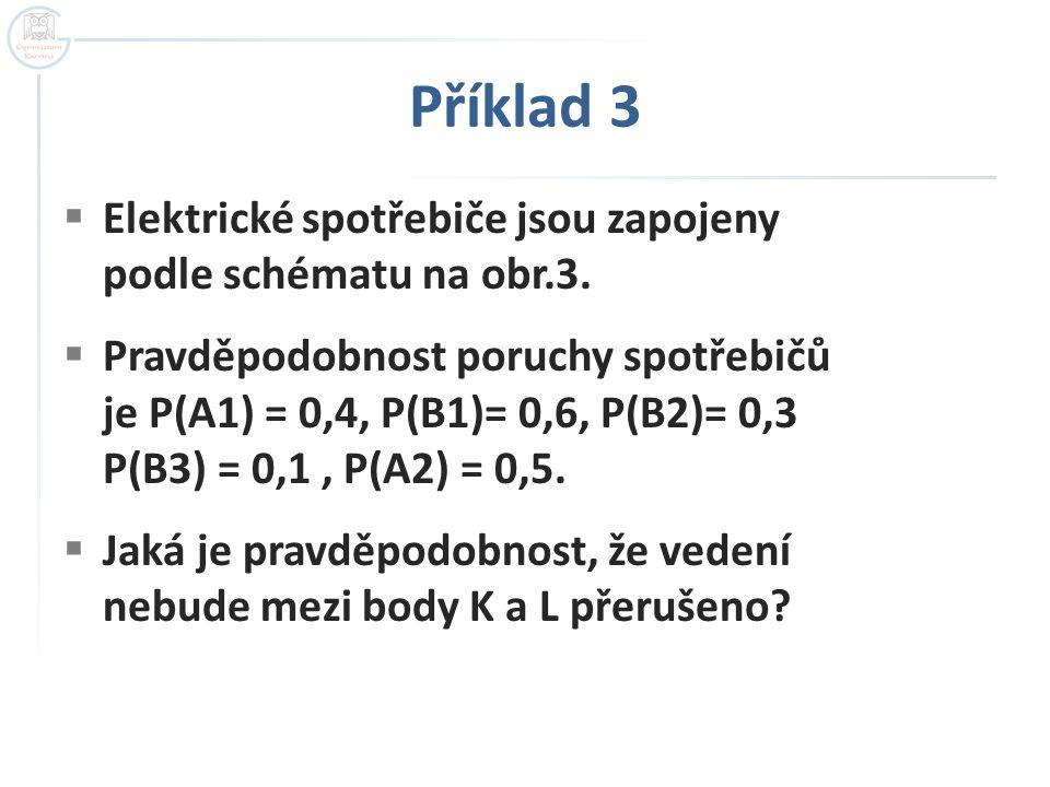 Příklad 3  Elektrické spotřebiče jsou zapojeny podle schématu na obr.3.  Pravděpodobnost poruchy spotřebičů je P(A1) = 0,4, P(B1)= 0,6, P(B2)= 0,3 P