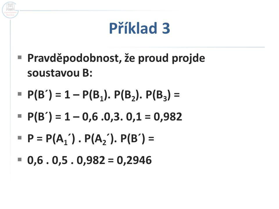 Příklad 3  Pravděpodobnost, že proud projde soustavou B:  P(B´) = 1 – P(B 1 ). P(B 2 ). P(B 3 ) =  P(B´) = 1 – 0,6.0,3. 0,1 = 0,982  P = P(A 1 ´).