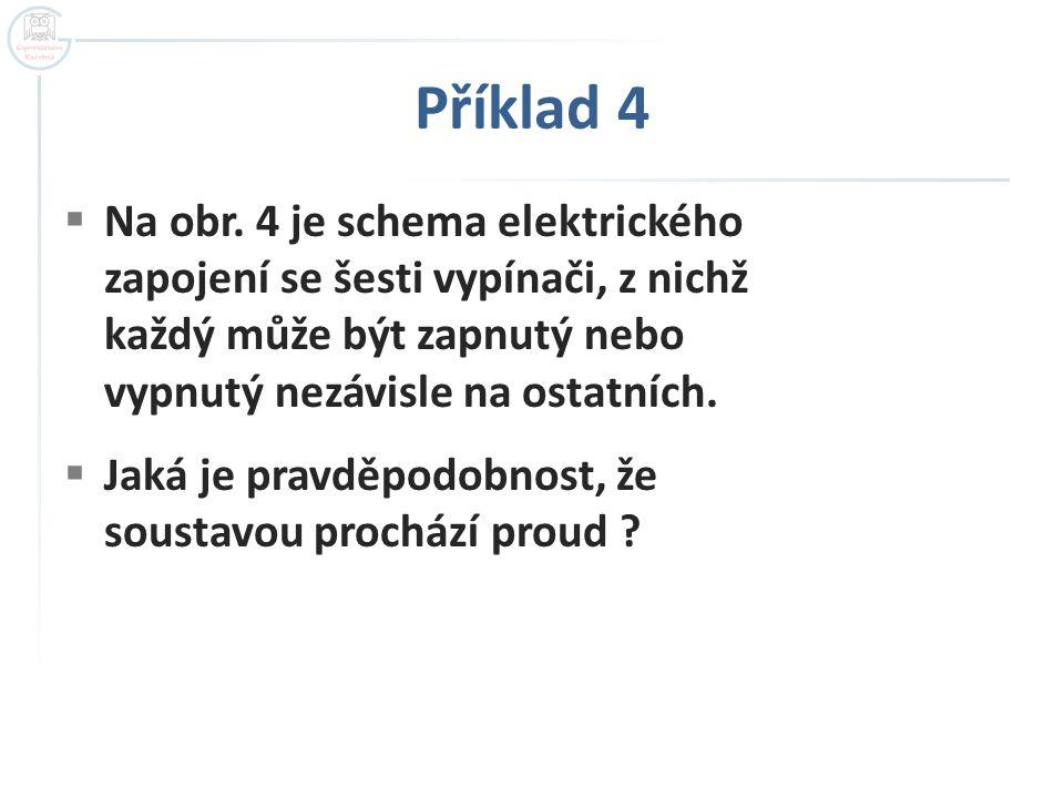 Příklad 4  Na obr. 4 je schema elektrického zapojení se šesti vypínači, z nichž každý může být zapnutý nebo vypnutý nezávisle na ostatních.  Jaká je