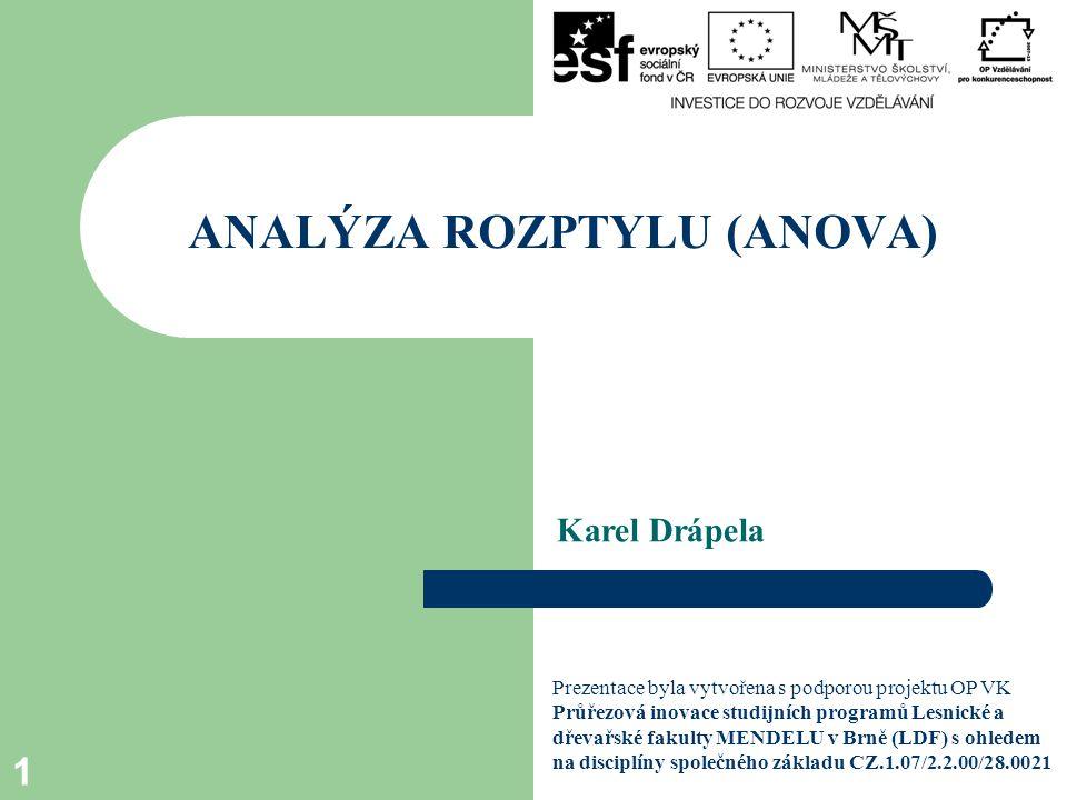 Karel Drápela ANALÝZA ROZPTYLU (ANOVA) 1 Prezentace byla vytvořena s podporou projektu OP VK Průřezová inovace studijních programů Lesnické a dřevařské fakulty MENDELU v Brně (LDF) s ohledem na disciplíny společného základu CZ.1.07/2.2.00/28.0021