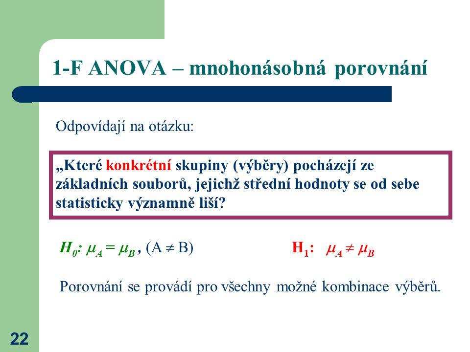 """22 1-F ANOVA – mnohonásobná porovnání """"Které konkrétní skupiny (výběry) pocházejí ze základních souborů, jejichž střední hodnoty se od sebe statisticky významně liší."""