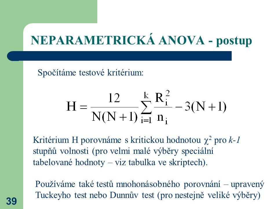 39 NEPARAMETRICKÁ ANOVA - postup Spočítáme testové kritérium: Kritérium H porovnáme s kritickou hodnotou  2 pro k-1 stupňů volnosti (pro velmi malé výběry speciální tabelované hodnoty – viz tabulka ve skriptech).