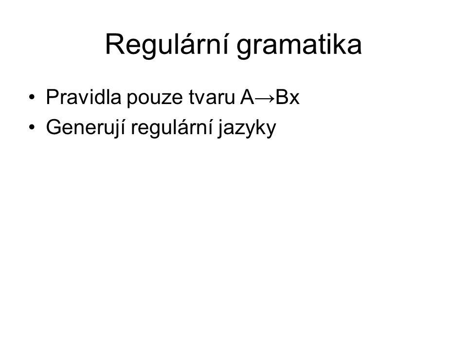 Regulární gramatika Pravidla pouze tvaru A→Bx Generují regulární jazyky