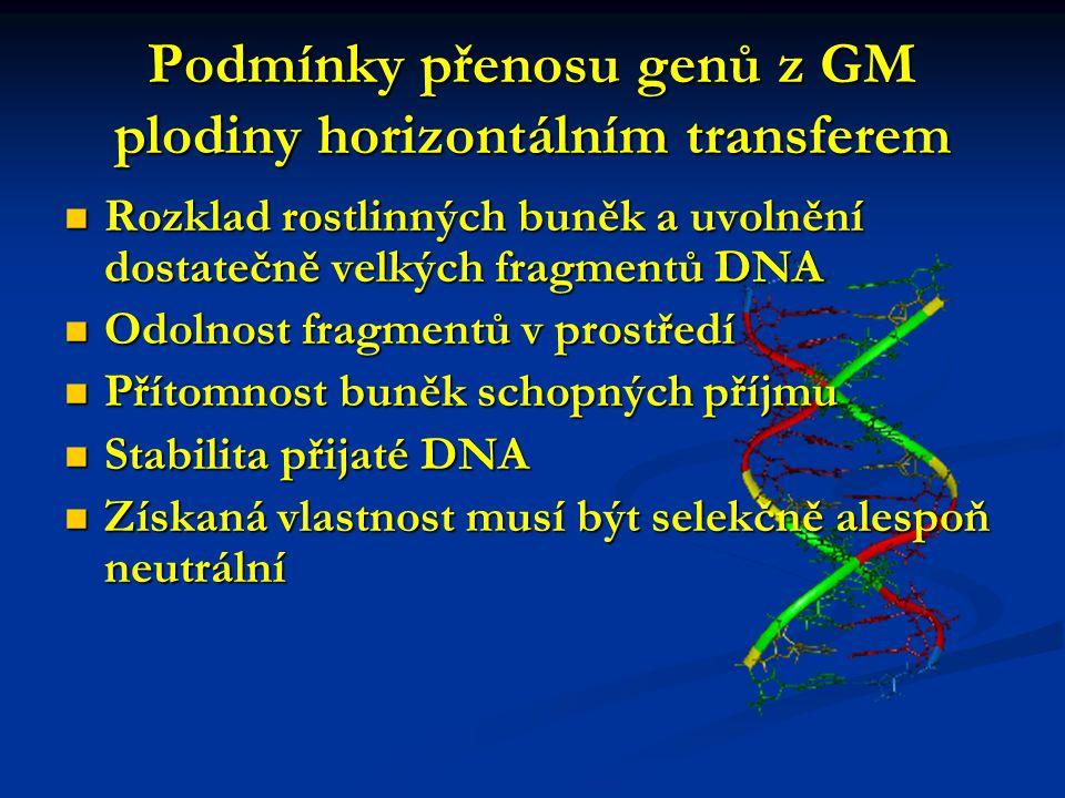 Podmínky přenosu genů z GM plodiny horizontálním transferem Rozklad rostlinných buněk a uvolnění dostatečně velkých fragmentů DNA Rozklad rostlinných buněk a uvolnění dostatečně velkých fragmentů DNA Odolnost fragmentů v prostředí Odolnost fragmentů v prostředí Přítomnost buněk schopných příjmu Přítomnost buněk schopných příjmu Stabilita přijaté DNA Stabilita přijaté DNA Získaná vlastnost musí být selekčně alespoň neutrální Získaná vlastnost musí být selekčně alespoň neutrální