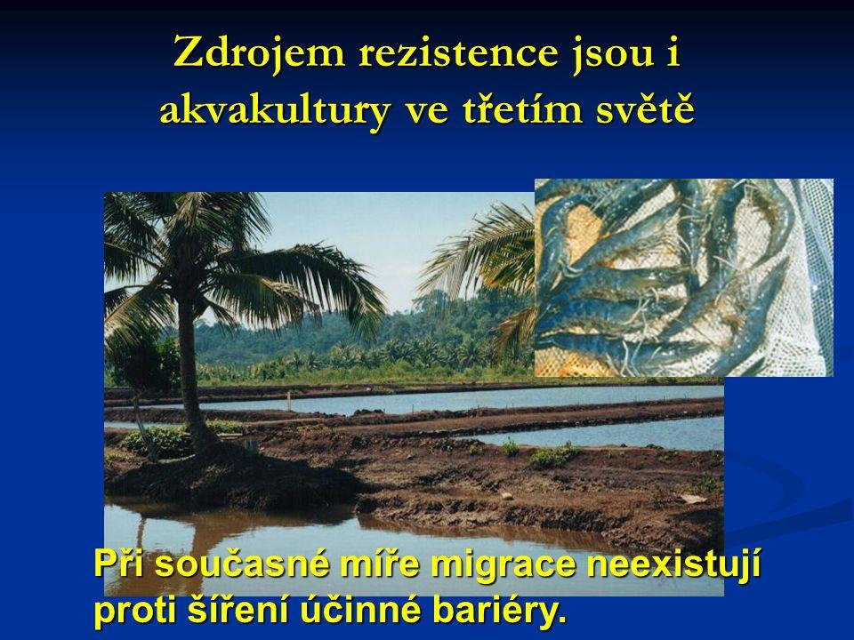 Zdrojem rezistence jsou i akvakultury ve třetím světě Při současné míře migrace neexistují proti šíření účinné bariéry.