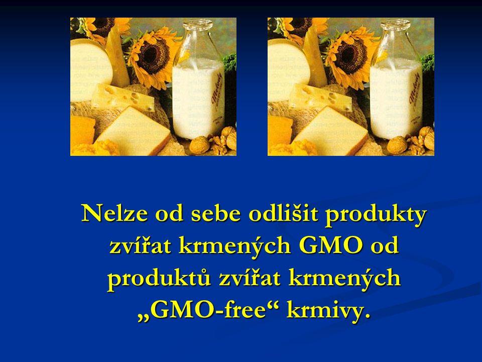 """Nelze od sebe odlišit produkty zvířat krmených GMO od produktů zvířat krmených """"GMO-free krmivy."""