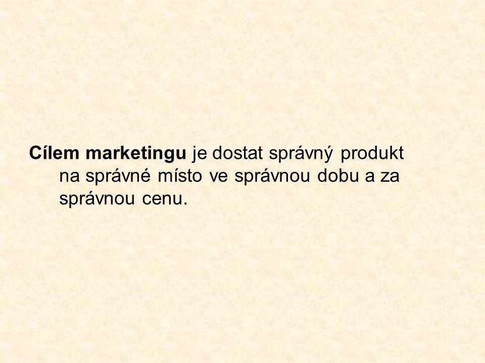 Cílem marketingu je dostat správný produkt na správné místo ve správnou dobu a za správnou cenu.